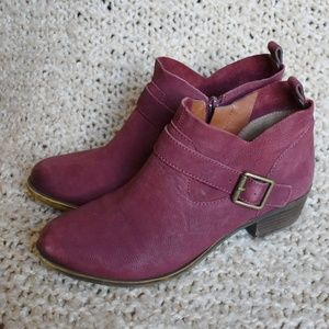 Lucky Brand leather maroon | wine buckle booties